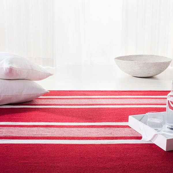 Red, Ivory Striped Area Rug