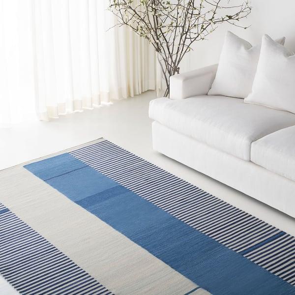 Blue, Cream (B) Contemporary / Modern Area-Rugs