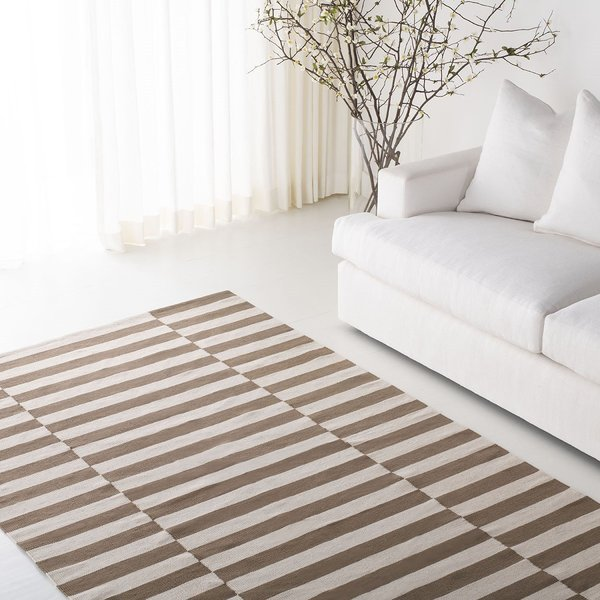 Brown, Ivory (C) Contemporary / Modern Area-Rugs