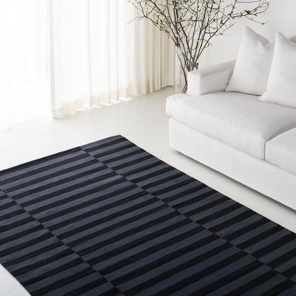 Black, Charcoal (E) Contemporary / Modern Area-Rugs