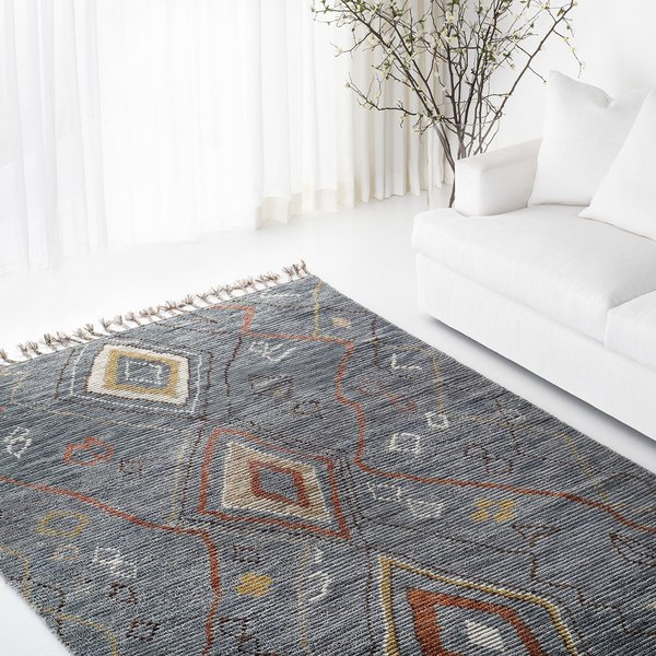 Blue, Red Bohemian Area Rug