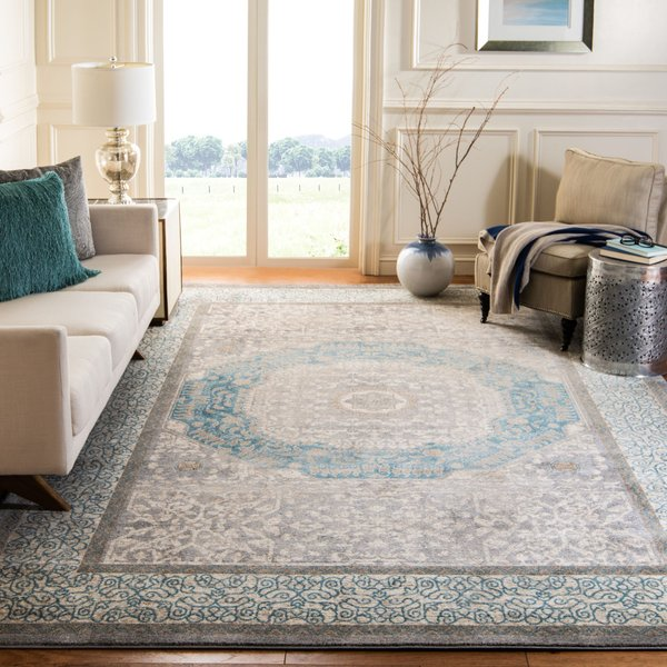 Light Grey, Blue (A) Traditional / Oriental Area Rug