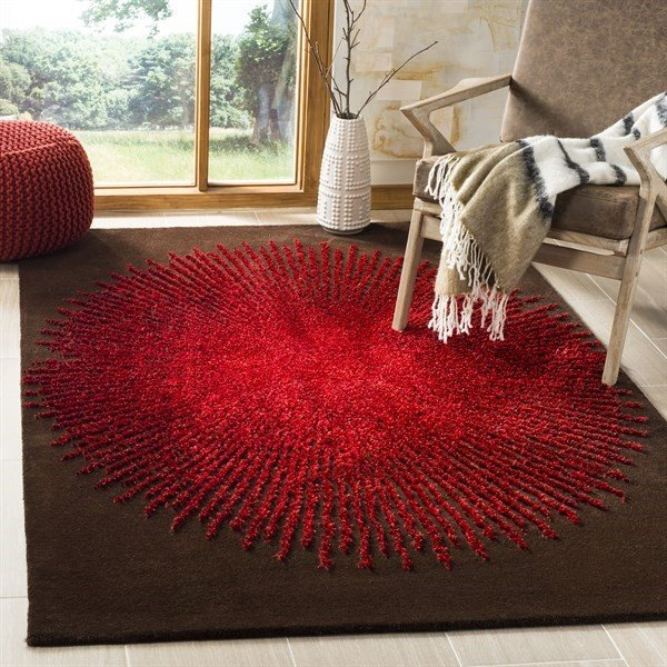 Brown, Red (T) Contemporary / Modern Area Rug
