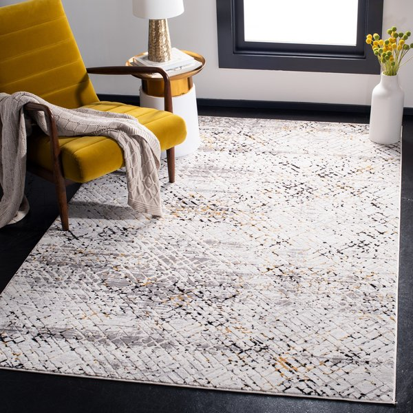 Cream, Charcoal (A) Contemporary / Modern Area-Rugs