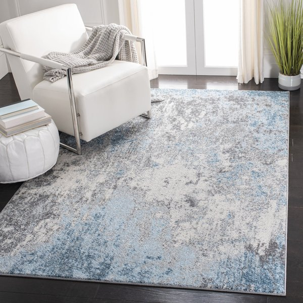 Grey, Blue (F) Contemporary / Modern Area Rug