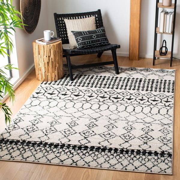 Ivory, Black (B) Moroccan Area Rug