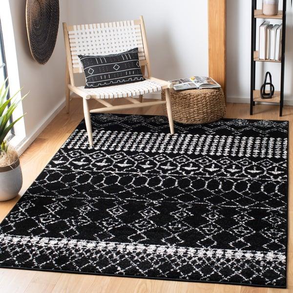 Black, Ivory (Z) Moroccan Area Rug