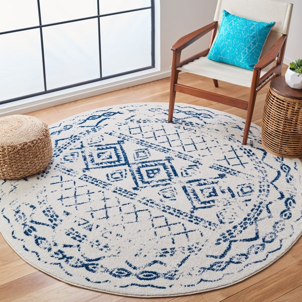 Ivory, Navy (C) Moroccan Area-Rugs