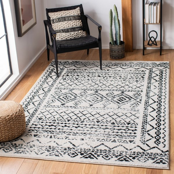 Ivory, Black (D) Moroccan Area Rug