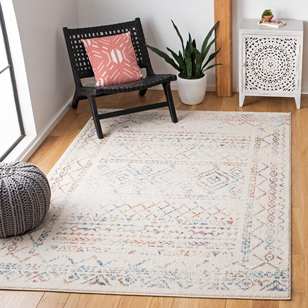 Ivory, Turquoise (M) Moroccan Area-Rugs