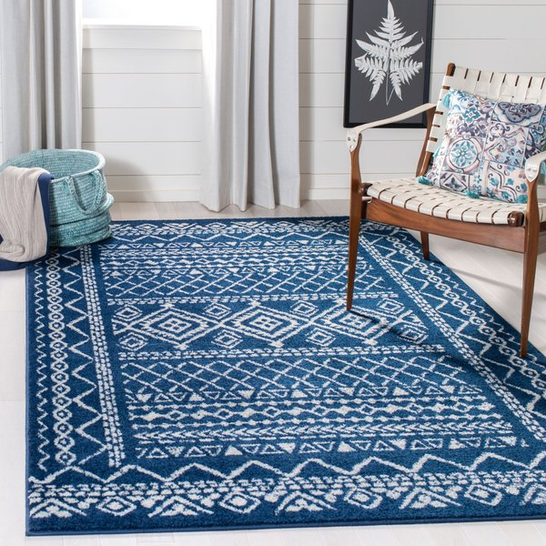 Navy, Ivory (N) Moroccan Area-Rugs
