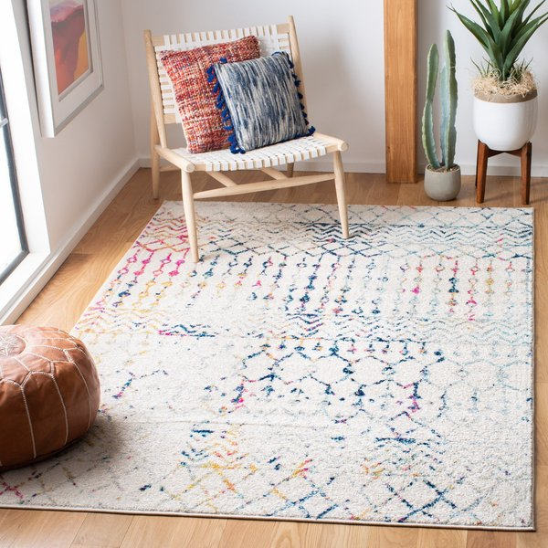 Ivory, Blue (C) Moroccan Area Rug