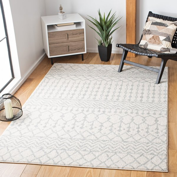 Ivory, Light Grey (D) Moroccan Area Rug
