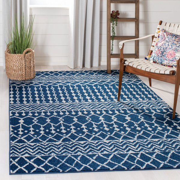 Navy, Ivory (N) Moroccan Area Rug