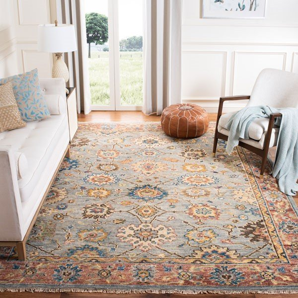 Grey, Red (F) Traditional / Oriental Area Rug