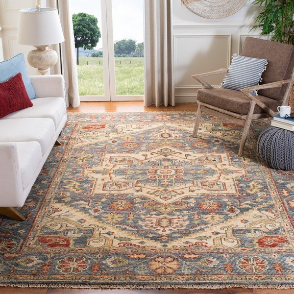 Blue, Ivory (M) Traditional / Oriental Area Rug