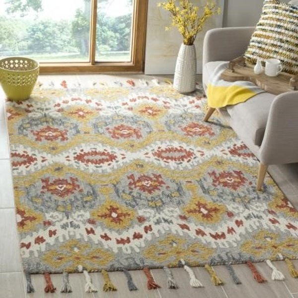 Grey, Gold (A) Bohemian Area-Rugs