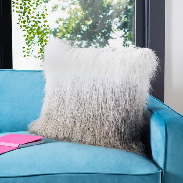 Grey, White (PLS-733) Shag pillow