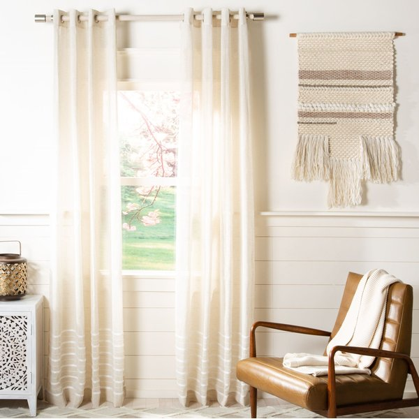 Beige, White (WDT-1052A) Solid Curtains