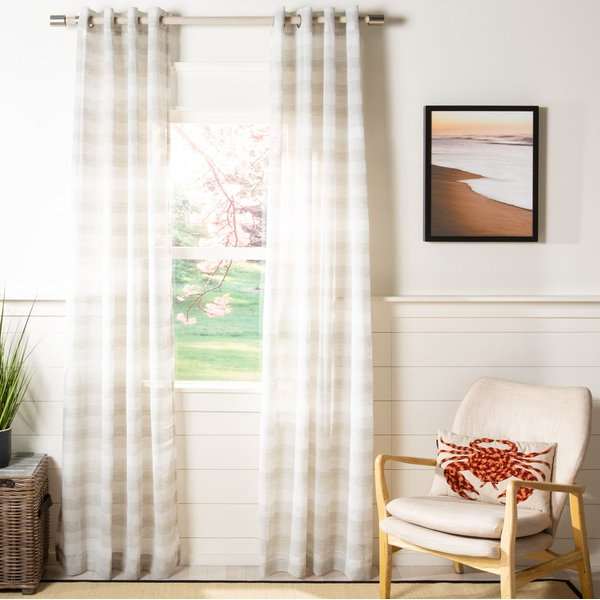 Beige (WDT-1053A) Striped Curtains