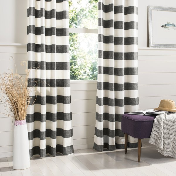 Grey, White (WDT-1006) Striped Curtains
