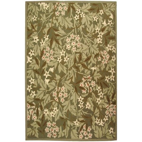 Green, Ivory (A) Floral / Botanical Area Rug