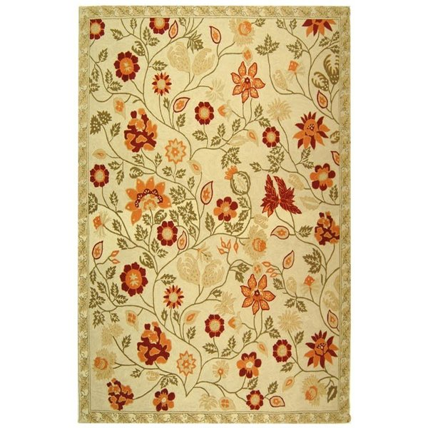 Ivory, Green (A) Floral / Botanical Area-Rugs