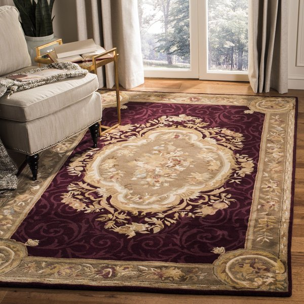 Dark Red, Dark Beige (A) Traditional / Oriental Area Rug