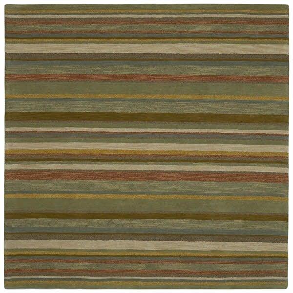 Natural, Sage Green, Beige (44) Striped Area Rug