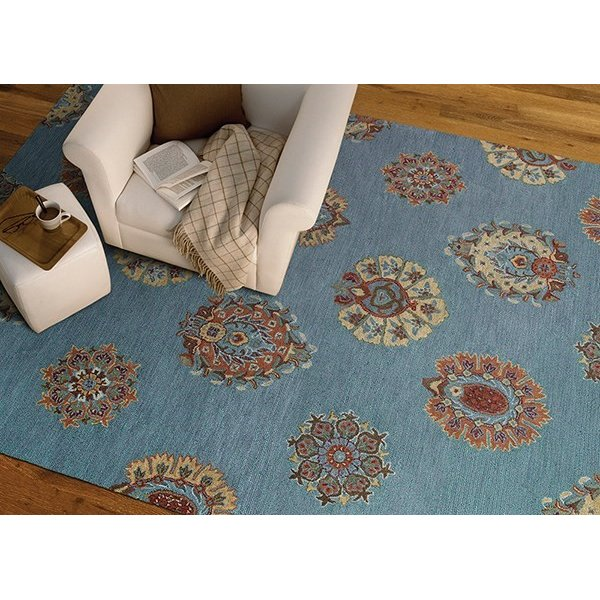 Spa Blue, Rust, Gold (56) Contemporary / Modern Area Rug