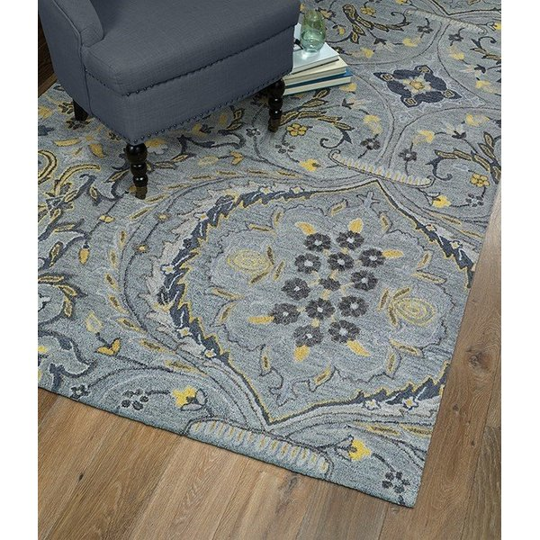 Grey, Yellow, Charcoal (75) Contemporary / Modern Area Rug