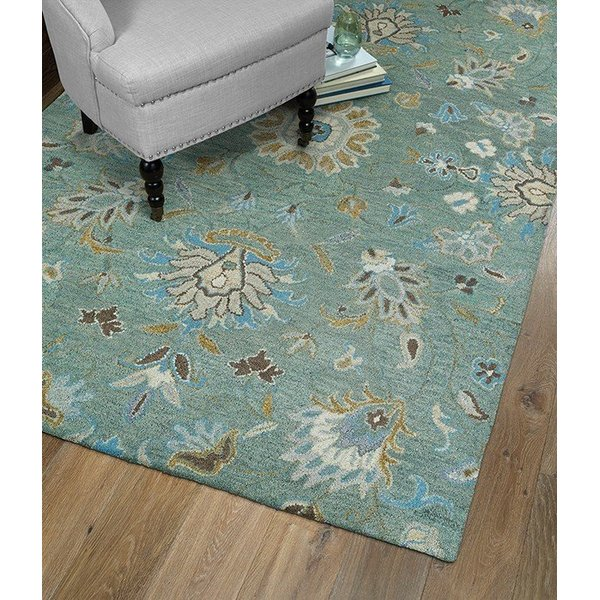 Mint, Camel, Sky Blue (88) Traditional / Oriental Area Rug