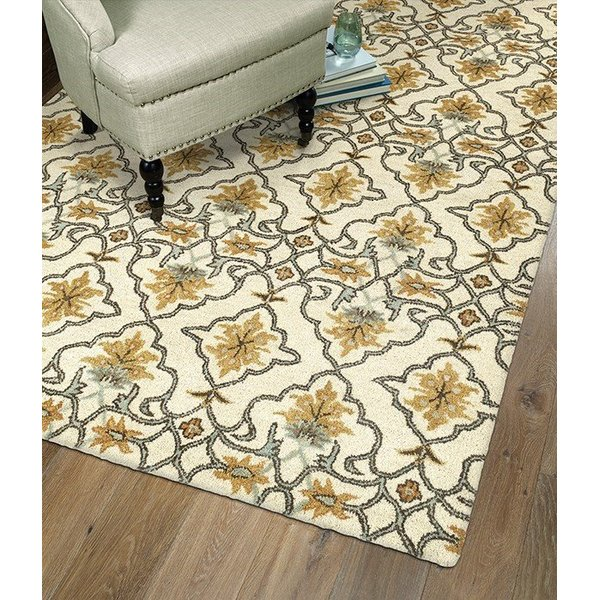 Beige, Gold, Bright Jade, Light Brown (03) Traditional / Oriental Area Rug