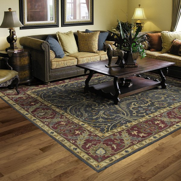 Blue, Brick Red, Ivory (17) Traditional / Oriental Area Rug