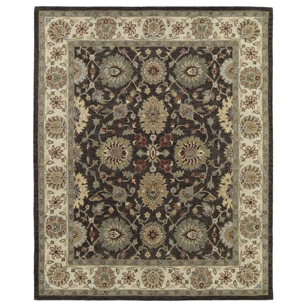 Brown, Sage Green, Ivory (49) Traditional / Oriental Area Rug