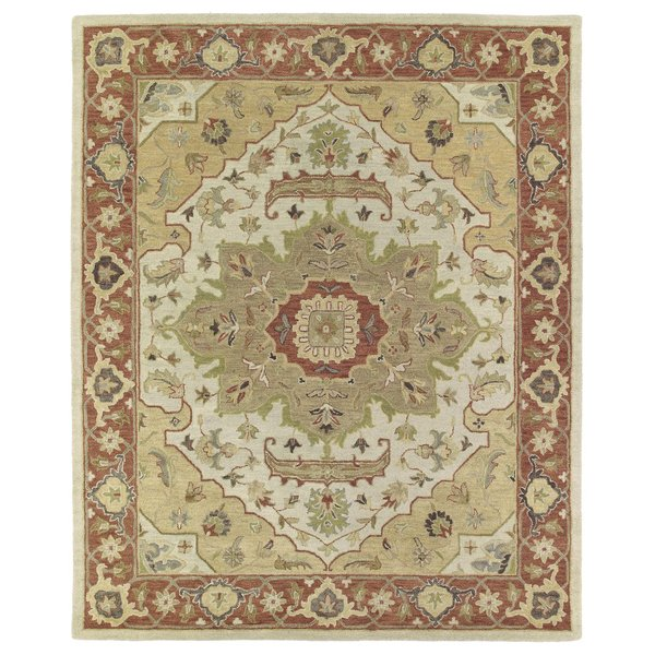 Gold, Terracotta, Sage Green (05) Traditional / Oriental Area Rug