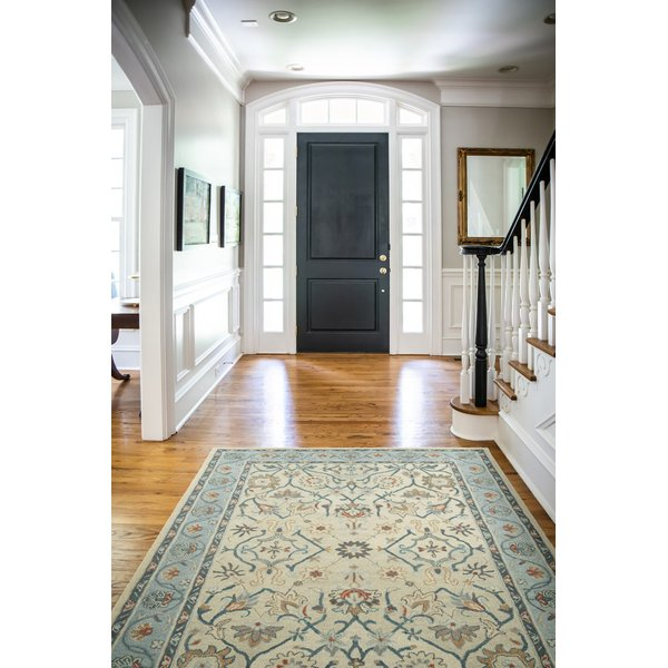 Ivory, Blue (01) Contemporary / Modern Area-Rugs