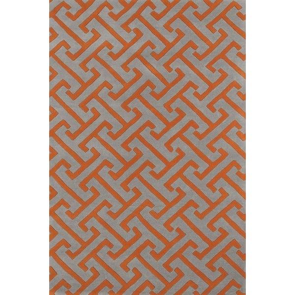 Orange, Grey (75) Contemporary / Modern Area Rug