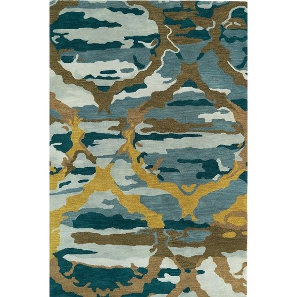 Blue, Gold, Brown (17) Contemporary / Modern Area Rug