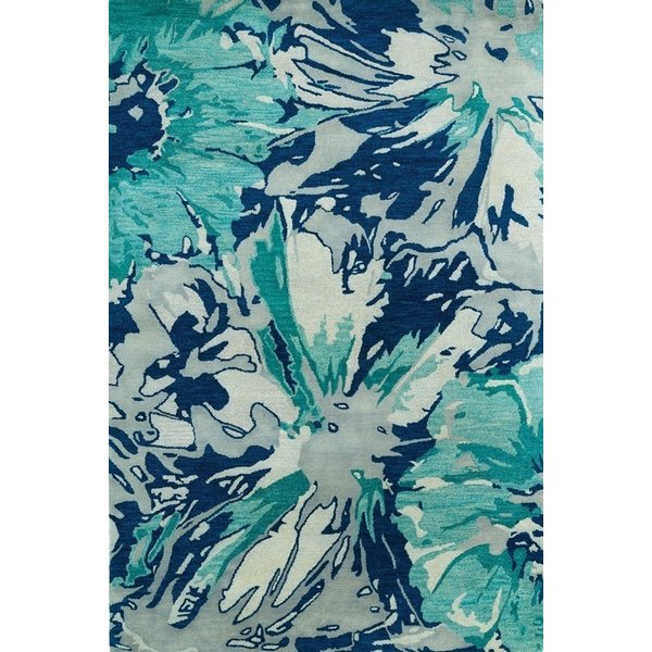 Blue, Light Grey, Turquoise (17) Contemporary / Modern Area Rug