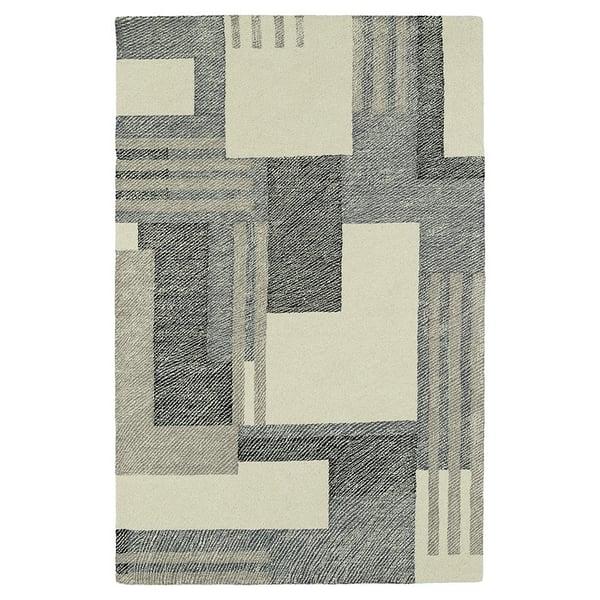Ivory, Grey, Charcoal (01) Geometric Area Rug