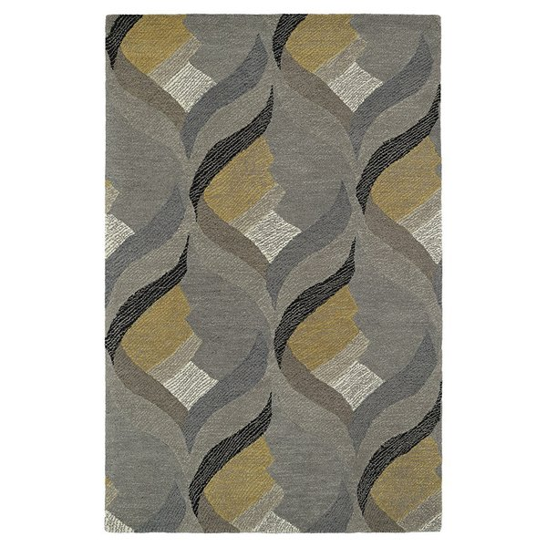 Grey, Ivory, Gold (75) Contemporary / Modern Area Rug