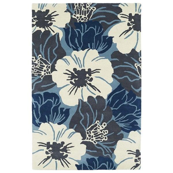 Navy, Light Blue, Ivory, (17) Floral / Botanical Area-Rugs
