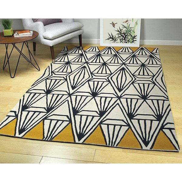 Ivory, Charcoal, Butterscotch (01) Geometric Area Rug