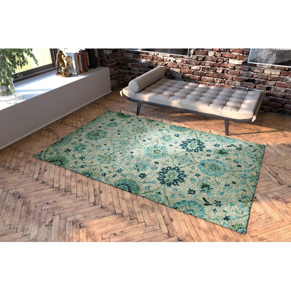Turquoise (78) Traditional / Oriental Area Rug