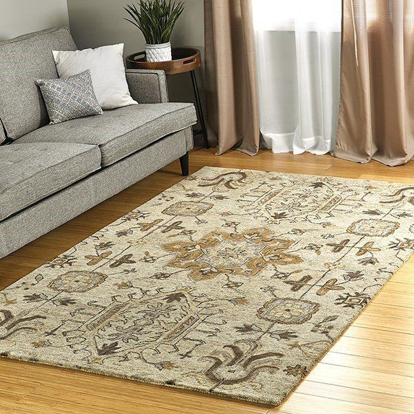 Sand, Brown, Silver (29) Traditional / Oriental Area Rug