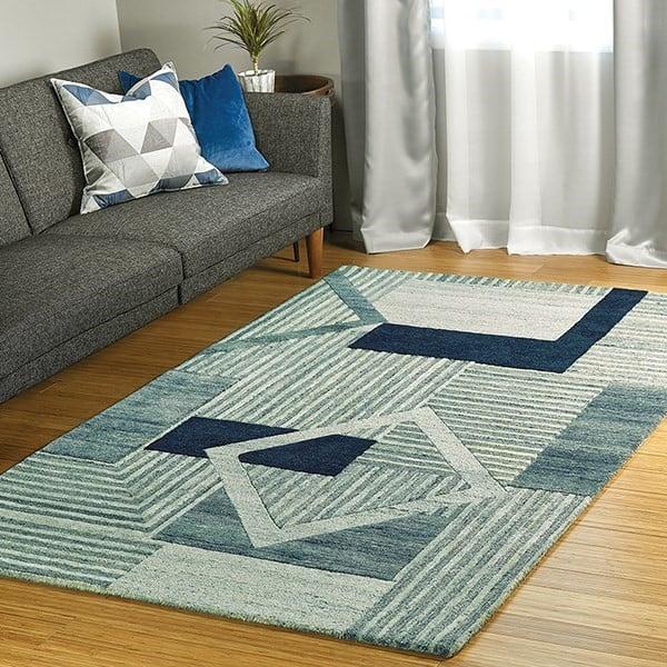Blue, Denim, Sage (17) Contemporary / Modern Area Rug