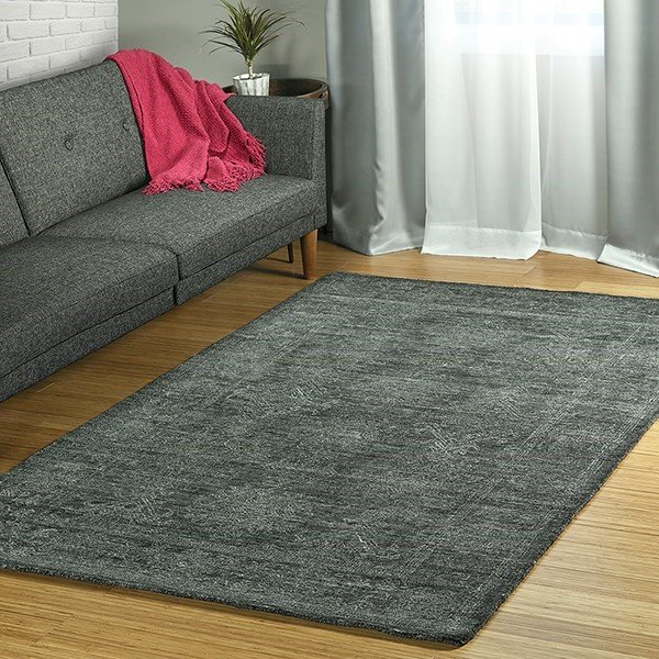 Charcoal, Silver, Black (38) Traditional / Oriental Area Rug