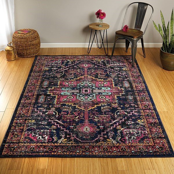 Navy, Turquoise, Pink (22) Bohemian Area Rug