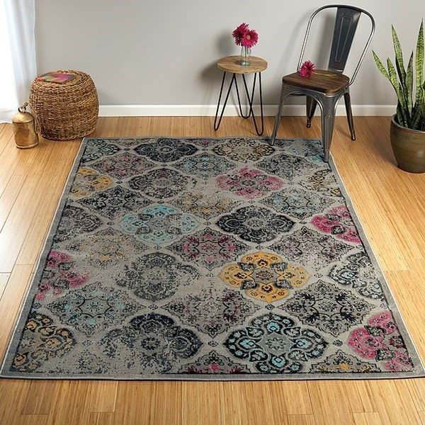 Grey, Turquoise, Pink (75) Contemporary / Modern Area Rug